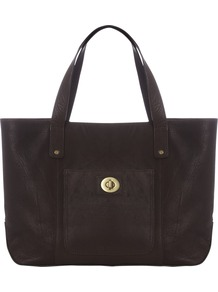 Carly Tote Bag, Chocolate - predominant colour: chocolate brown; occasions: casual, work; style: tote; length: handle; size: oversized; material: fabric; pattern: plain; finish: plain