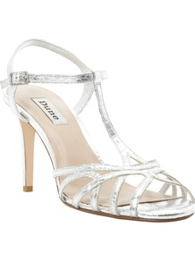 Hopeful T Bar Heeled Sandals - predominant colour: silver; occasions: evening, occasion, holiday; material: faux leather; heel height: high; ankle detail: ankle strap; heel: stiletto; toe: open toe/peeptoe; style: strappy; trends: metallics; finish: metallic; pattern: plain