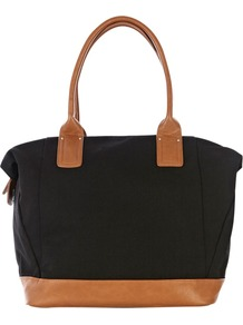 Canvas Oversized Shopper Handbag, Black - secondary colour: tan; predominant colour: black; occasions: casual; type of pattern: standard; style: tote; length: handle; size: oversized; material: fabric; finish: plain; pattern: colourblock