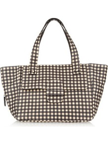Elsa Gingham Print Leather Tote - secondary colour: ivory; predominant colour: navy; occasions: casual, work; type of pattern: standard; style: tote; length: handle; size: oversized; material: leather; pattern: checked/gingham; finish: plain