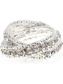 Silver Crystal Wrap Ring - predominant colour: silver; occasions: casual, evening, work, occasion, holiday; style: band; size: small; material: chain/metal; trends: metallics; finish: metallic; embellishment: crystals