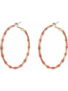 Gold Coral Polka Dot Hoop Earrings - predominant colour: coral; secondary colour: gold; occasions: casual, evening, occasion, holiday; style: hoop; length: long; size: large/oversized; material: chain/metal; fastening: pierced; finish: metallic