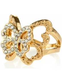 Gold Diamante Double Layer Butterfly Ring - predominant colour: gold; occasions: casual, evening, occasion, holiday; style: cocktail; size: standard; material: chain/metal; finish: metallic; embellishment: crystals; secondary colour: clear