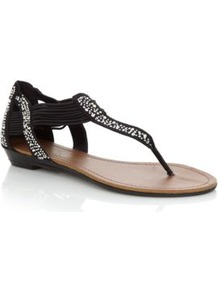Black Diamante Elastic Strap Sandals - secondary colour: silver; predominant colour: black; occasions: casual, evening, holiday; material: faux leather; heel height: flat; embellishment: crystals; ankle detail: ankle strap; heel: wedge; toe: toe thongs; style: flip flops / toe post; finish: plain; pattern: plain