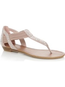 Nude Diamante Elastic Strap Sandals - predominant colour: nude; secondary colour: silver; occasions: casual, evening, holiday; material: fabric; heel height: flat; embellishment: crystals; ankle detail: ankle strap; heel: standard; toe: toe thongs; style: flip flops / toe post; finish: plain; pattern: plain