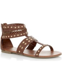 Tan Stud Zip Back Gladiator Flat Sandals - predominant colour: tan; occasions: casual, holiday; material: faux leather; heel height: flat; embellishment: studs; ankle detail: ankle strap; heel: block; toe: open toe/peeptoe; style: gladiators; finish: plain; pattern: plain