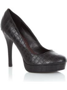 Black Snake Skin Platform Court Shoes - predominant colour: black; occasions: evening, work, occasion; material: faux leather; heel height: high; heel: platform; toe: round toe; style: courts; finish: plain; pattern: animal print