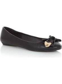Black Metal Trim Bow Ballet Pumps - predominant colour: black; occasions: casual; material: faux leather; heel height: flat; toe: round toe; style: ballerinas / pumps; finish: plain; pattern: plain; embellishment: bow