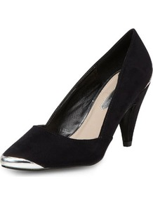 Black Metal Accent Courts - secondary colour: silver; predominant colour: black; occasions: casual, evening, work, occasion; material: fabric; heel height: mid; heel: cone; toe: pointed toe; style: courts; finish: plain; pattern: plain; embellishment: toe cap