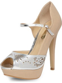Nude And Silver Courts - predominant colour: nude; secondary colour: silver; occasions: evening, occasion, holiday; material: faux leather; ankle detail: ankle strap; heel: platform; toe: open toe/peeptoe; style: courts; trends: metallics; finish: metallic; pattern: colourblock; heel height: very high