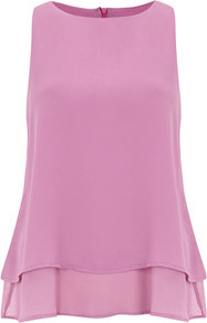 Lilac Layered Tunic - neckline: round neck; pattern: plain; sleeve style: sleeveless; predominant colour: lilac; occasions: evening; length: standard; style: top; fibres: polyester/polyamide - 100%; fit: loose; sleeve length: sleeveless; texture group: sheer fabrics/chiffon/organza etc.; pattern type: fabric