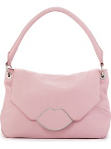 Powder Pink Leather Small Nicola - predominant colour: pink; secondary colour: silver; occasions: casual, evening, work, occasion; type of pattern: light; style: shoulder; length: shoulder (tucks under arm); size: standard; material: leather; pattern: plain; finish: plain; embellishment: chain/metal