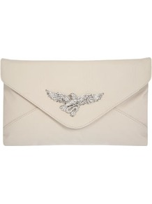 Cream Eagle Clutch - predominant colour: ivory; occasions: evening, occasion; type of pattern: standard; style: clutch; length: hand carry; size: standard; material: faux leather; embellishment: crystals; pattern: plain; finish: plain