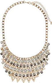 Box And Rhinestone Collar - predominant colour: gold; occasions: casual, evening, occasion, holiday; style: choker/collar; length: short; size: large/oversized; material: chain/metal; trends: metallics; finish: metallic; embellishment: crystals; secondary colour: clear