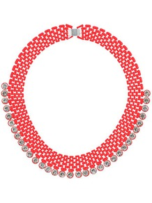 Coral And Rhinestone Collar - predominant colour: coral; occasions: casual, evening, occasion, holiday; style: bib; length: short; size: large/oversized; material: chain/metal; finish: metallic; embellishment: crystals