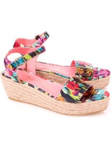 Tropical Print Platform Wedges Multi - occasions: casual, holiday; predominant colour: multicoloured; material: fabric; heel height: mid; ankle detail: ankle strap; heel: wedge; toe: open toe/peeptoe; style: standard; finish: plain; pattern: patterned/print