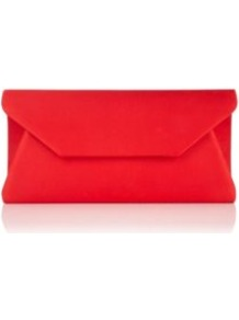 Envelope Bag - predominant colour: true red; occasions: evening, occasion; type of pattern: standard; style: clutch; length: hand carry; size: small; material: satin; pattern: plain; finish: plain