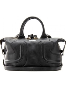 Kay Leather Bag - predominant colour: black; occasions: casual, work; style: tote; length: handle; size: small; material: leather; pattern: plain; finish: plain