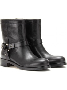 Dixie Leather Biker Boots - predominant colour: black; occasions: casual; material: leather; heel height: flat; embellishment: studs; heel: standard; toe: round toe; boot length: ankle boot; style: biker boot; finish: plain; pattern: plain