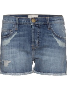 Festival Denim Shorts - pattern: plain; style: shorts; pocket detail: traditional 5 pocket; length: short shorts; waist: mid/regular rise; predominant colour: denim; occasions: casual, holiday; fibres: cotton - stretch; texture group: denim; fit: slim leg; pattern type: fabric