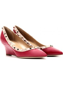 Patent Leather Rockstud Wedges - predominant colour: true red; secondary colour: nude; occasions: casual, evening, work, occasion; material: leather; heel height: mid; embellishment: studs; heel: wedge; toe: pointed toe; style: courts; finish: patent; pattern: colourblock