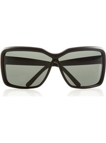Square Frame Acetate Sunglasses - predominant colour: black; occasions: casual, holiday; style: square; size: large; material: plastic/rubber; pattern: plain; finish: plain