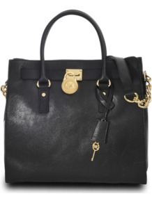 Hamilton 18 K Large Tote - secondary colour: gold; predominant colour: black; occasions: casual, evening, work; type of pattern: light; style: tote; length: handle; size: standard; material: leather; embellishment: tassels; pattern: plain; finish: plain