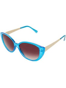 Chunky Cateye Sunglasses - predominant colour: turquoise; secondary colour: gold; occasions: casual, holiday; style: cateye; size: standard; material: plastic/rubber; finish: plain; pattern: colourblock