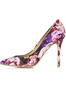 Gwenda Pointed Courts - secondary colour: pink; predominant colour: purple; occasions: evening, work, occasion; material: leather; heel height: high; heel: stiletto; toe: pointed toe; style: courts; trends: high impact florals; finish: plain; pattern: florals