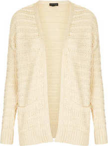 Knitted Step Hem Cardi - pattern: plain; length: below the bottom; neckline: collarless open; style: open front; predominant colour: ivory; occasions: casual; fibres: cotton - mix; fit: loose; sleeve length: long sleeve; sleeve style: standard; texture group: knits/crochet; pattern type: knitted - other