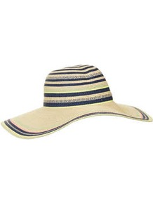 Straw Fluro Stripe Floppy Hat - predominant colour: navy; secondary colour: stone; occasions: casual, holiday; type of pattern: standard; style: sunhat; size: large; material: macrame/raffia/straw; pattern: horizontal stripes