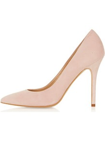 Gwenda Pointed Courts - predominant colour: blush; occasions: evening, work, occasion; material: suede; heel height: high; heel: stiletto; toe: pointed toe; style: courts; finish: plain; pattern: plain
