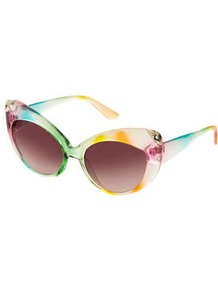 Multi Cateye Sunglasses - occasions: casual, holiday; predominant colour: multicoloured; style: cateye; size: standard; material: plastic/rubber; finish: plain; pattern: patterned/print