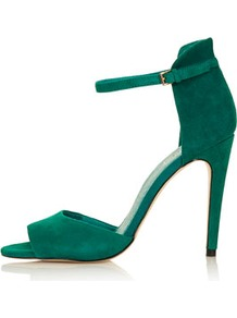 Rebel Clean 2 Part Sandals - predominant colour: emerald green; occasions: evening, occasion; material: fabric; heel height: high; ankle detail: ankle strap; heel: stiletto; toe: open toe/peeptoe; style: standard; finish: plain; pattern: plain