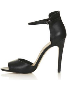 Rebel Clean 2 Part Sandals - predominant colour: black; occasions: evening, occasion; material: leather; heel height: high; ankle detail: ankle strap; heel: stiletto; toe: open toe/peeptoe; style: standard; finish: plain; pattern: plain