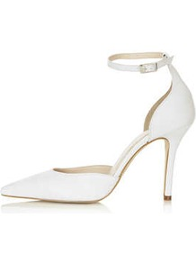Gizmo Ankle Strap Court Shoes - predominant colour: white; occasions: evening, work, occasion; material: suede; heel height: high; ankle detail: ankle strap; heel: stiletto; toe: pointed toe; style: courts; finish: plain; pattern: plain