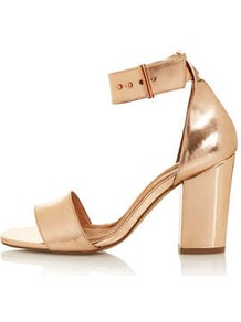 Ramble Square Toe Sandals - predominant colour: gold; occasions: evening, occasion, holiday; material: leather; heel height: mid; ankle detail: ankle strap; heel: block; toe: open toe/peeptoe; style: standard; trends: metallics; finish: metallic; pattern: plain