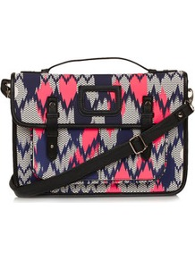 Aztec Zig Zag Print Satchel - predominant colour: hot pink; secondary colour: navy; occasions: casual; type of pattern: standard; style: satchel; length: across body/long; size: standard; material: faux leather; finish: plain; pattern: patterned/print