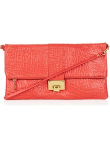 Flip Lock Clutch - predominant colour: coral; occasions: casual, evening, occasion; style: clutch; length: hand carry; size: small; material: leather; pattern: plain; finish: plain