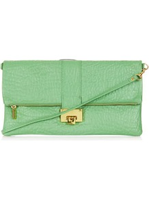 Flip Lock Clutch - predominant colour: pistachio; occasions: casual, evening, occasion; style: clutch; length: hand carry; size: small; material: leather; pattern: plain; finish: plain