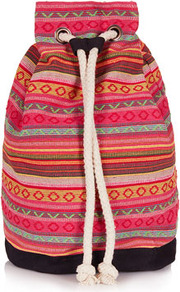 Stripe Duffle Backpack - occasions: casual, holiday; predominant colour: multicoloured; type of pattern: standard; style: rucksack; length: rucksack; size: standard; material: fabric; finish: plain; pattern: patterned/print