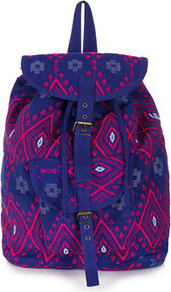 Diamond Jacquard Backpack - secondary colour: hot pink; predominant colour: royal blue; occasions: casual, holiday; type of pattern: standard; style: rucksack; length: rucksack; size: standard; material: fabric; finish: plain; pattern: patterned/print