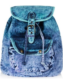 Dip Dye Backpack - predominant colour: denim; occasions: casual, holiday; style: rucksack; length: rucksack; size: standard; material: fabric; pattern: plain; finish: plain