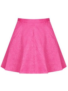 Jacquard Full Swing Skirt - length: mini; pattern: plain; fit: body skimming; waist: high rise; predominant colour: hot pink; occasions: casual, evening, occasion, holiday; style: fit & flare; fibres: cotton - mix; pattern type: fabric; texture group: brocade/jacquard