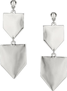 Shield Drop Earrings - predominant colour: silver; occasions: evening, occasion, holiday; style: drop; length: extra long; size: standard; material: chain/metal; fastening: pierced; trends: metallics; finish: metallic; embellishment: chain/metal
