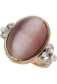 Cats Eye Rhinestone Ring - predominant colour: chocolate brown; secondary colour: gold; occasions: evening, work, occasion, holiday; style: cocktail; size: large/oversized; material: chain/metal; trends: metallics; finish: metallic; embellishment: crystals