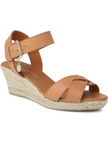 Lisbon Leather Wedge Sandals - predominant colour: tan; occasions: casual, holiday; material: leather; heel height: mid; ankle detail: ankle strap; heel: wedge; toe: open toe/peeptoe; style: strappy; finish: plain; pattern: plain; embellishment: chain/metal