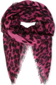 Leopard Skull Cashmere And Silk Blend Pashmina - predominant colour: hot pink; secondary colour: black; occasions: casual, evening, work, occasion; type of pattern: heavy; style: pashmina; size: standard; embellishment: fringing; pattern: animal print; trends: statement prints; material: cashmere