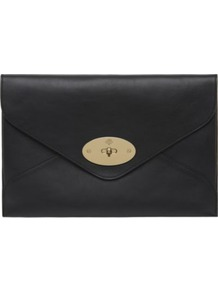Willow Silky Calf Leather Clutch - predominant colour: black; occasions: evening, work, occasion; type of pattern: standard; style: clutch; length: hand carry; size: standard; material: leather; pattern: plain; finish: plain; embellishment: chain/metal