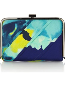 Tinae Printed Clutch - predominant colour: navy; secondary colour: turquoise; occasions: evening, occasion, holiday; type of pattern: heavy; style: clutch; length: hand carry; size: small; material: fabric; trends: statement prints; finish: plain; pattern: patterned/print